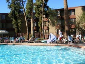 Relax by the pool at the DoubleTree