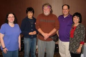 Division 1 pictures: Rachel Knapp (2nd), Judy Levitt (3rd), Gary Smart (HP), David Pearl (3rd) with Maddy Kamen, tournament organizer.