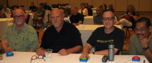 Trivia finalists Fran Galt, Mike Howlett, David Weiss (winner), and James Johnson