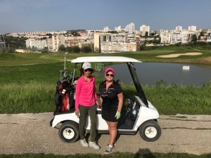 Maureen and Lilia golfing in Lisbon
