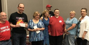Division 3 winners with Bennett and Dave.   Tony Melucci won the cup, Betty Collins placed second, Whitney Gould was fifth, Aron Smith was fourth, Janice Konkol won the top performance prize, Deborah Baggett had second-best performance.  Not shown:  Leo McKenna finished third.