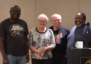 Division 2 winners Kene Mezue (second), Elizabeth Berman (high game, high loss), Gary Moss (first), Jesse Wornum (third)
